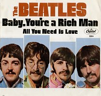 Copertina del singolo Baby You're a Rich Man/All You Need is Love. Beatles in primo piano separati da riquadri.
