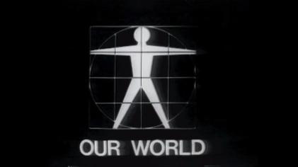 Il logo della trasmissione Our World è un omino stilizzato che richiama l'uomo vitruviano.
