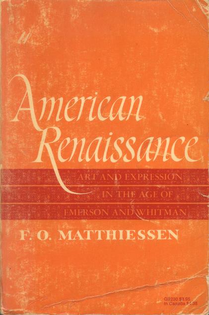 Copertina di Rinascimento Americano di Francis Otto Matthiessen.