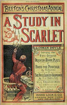 Copertina di A Study in Scarlet (uno Studio in Rosso) di Arthur Conan Doyle.